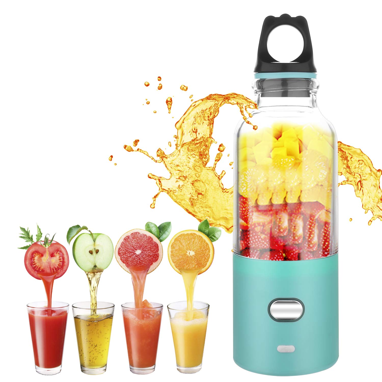 Portable Blender, Alegender Household Mini Juicer with 500ml Capacity, USB Interface & Rechargeable and 6 PCS Blades for Traveling Working Outdoors