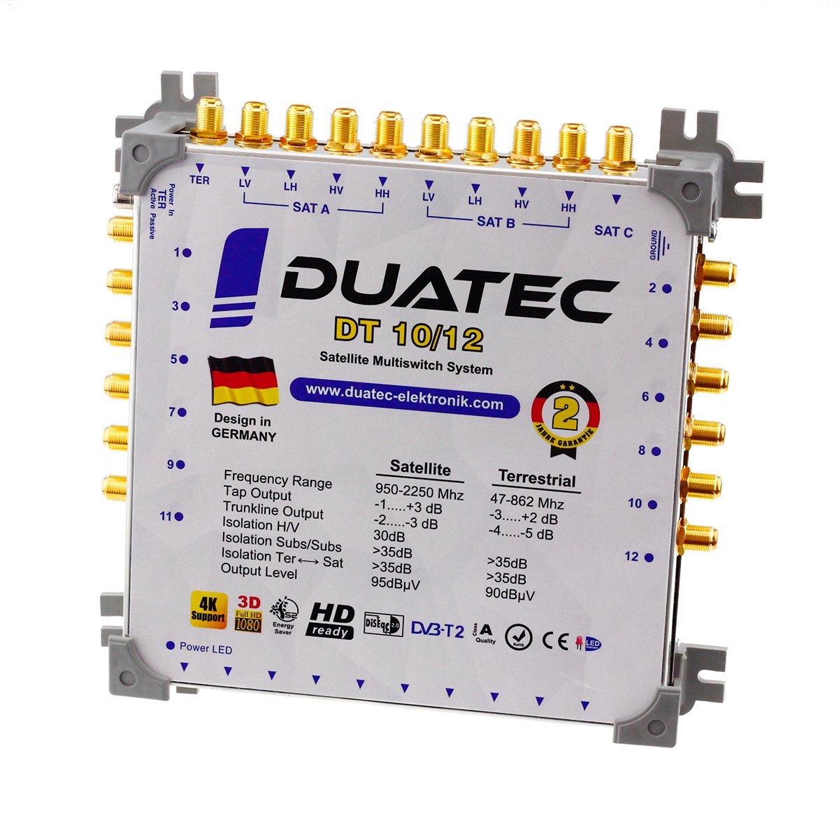 Duatec Multischalter 9//12 Switch Full HD 3D 4K UHD 12 Teilnehmer SAT Verteiler