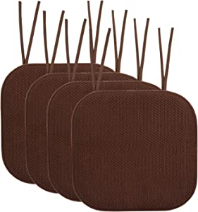 """Sweet Home Collection Chair Cushion Memory Foam Pads with Ties Honeycomb Pattern Slip Non Skid Rubber Back Rounded Square 16"""" x 16"""" Seat Cover, 4 Pack, Chocolate Brown"""