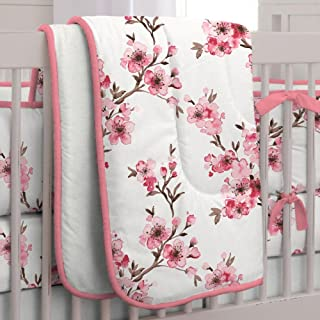 product image for Carousel Designs Pink Cherry Blossom Crib Comforter with Piping