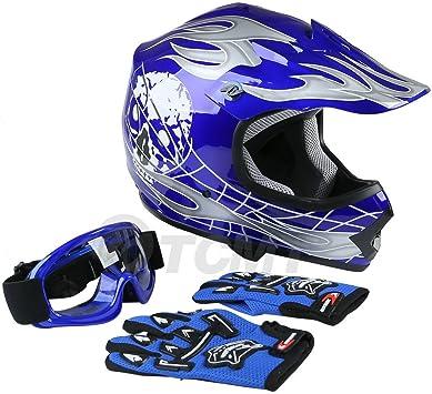 Amazon Com Tcmt Dot Youth Kids Motocross Offroad Street Helmet Blue Skull Motorcycle Youth Helmet Dirt Bike Motocross Atv Helmet Goggles Gloves L Automotive