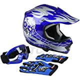 TCMT Dot Youth & Kids Motocross Offroad Street Helmet Blue Skull Motorcycle Helmet Silver Dirt Bike Helmet+Goggles+gloves M