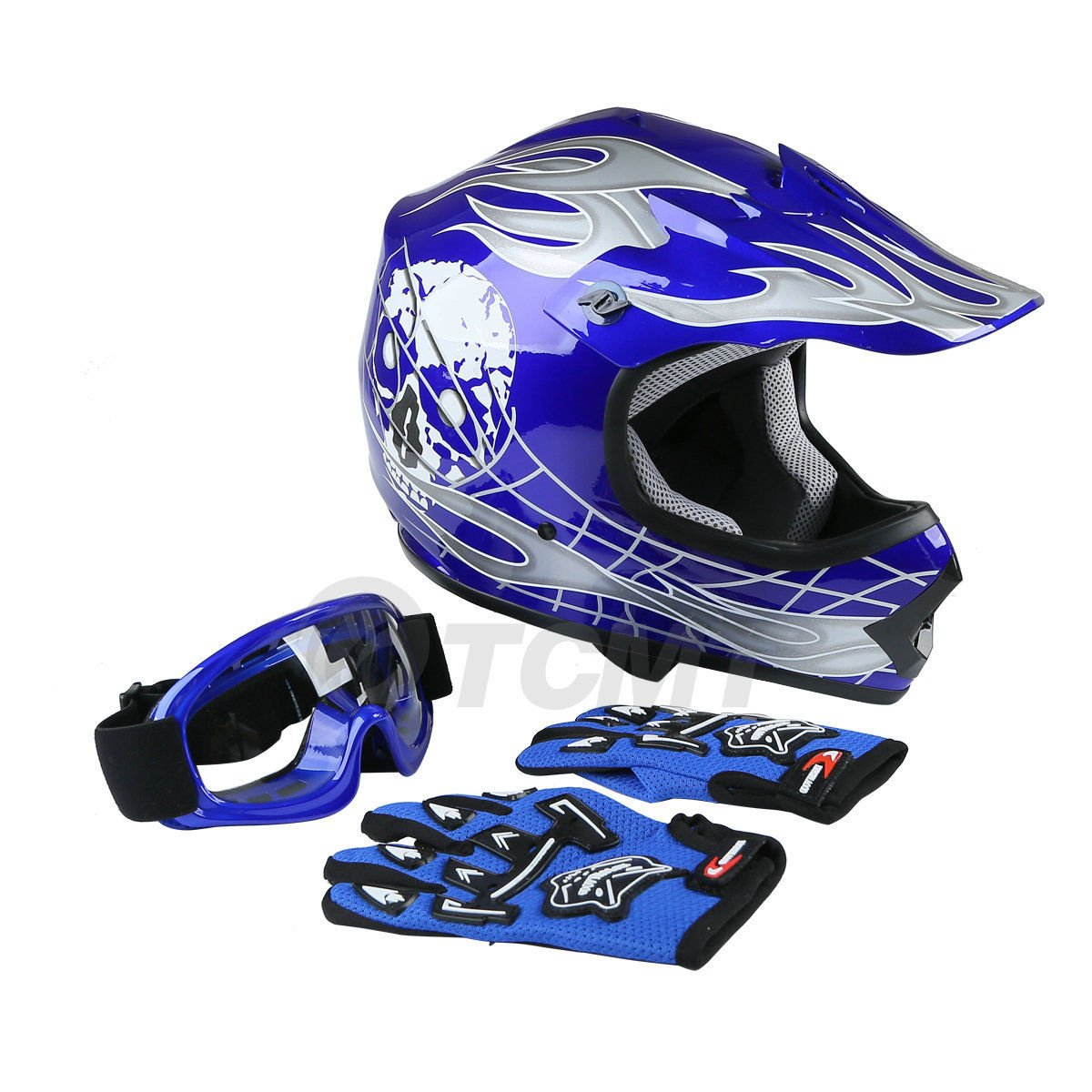 TCMT Dot Youth & Kids Motocross Offroad Street Helmet Blue Skull Motorcycle Helmet White Dirt Bike Dirt Bike Helmet+Goggles+gloves (XL, Blue) by TCMT