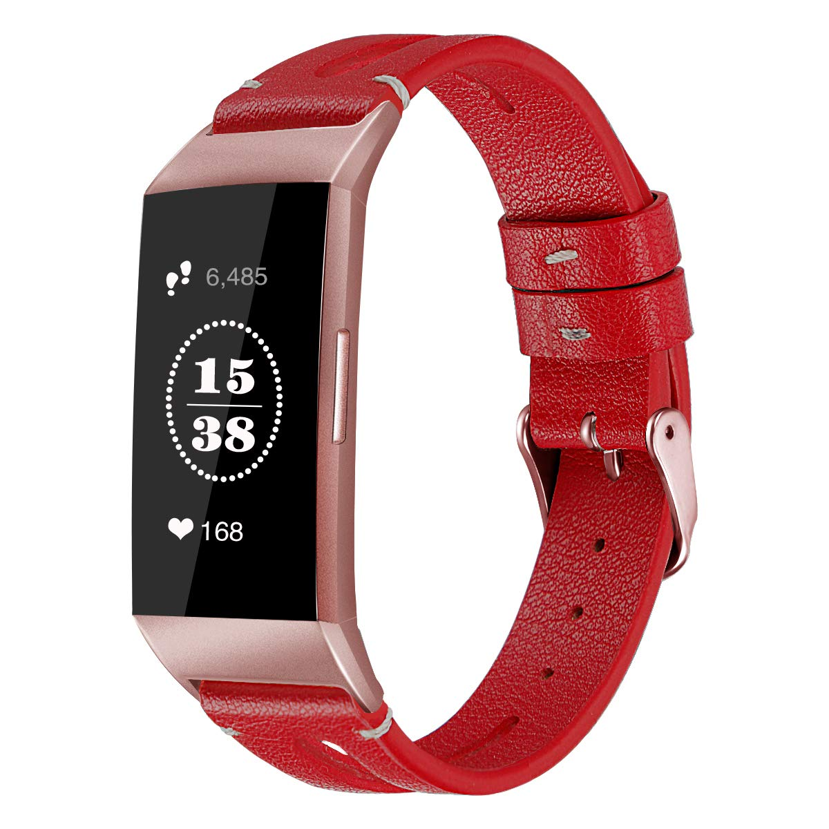 EverSnows Leather Bands Compatible Fitbit Charge 3 /& Charge 3 SE Genuine Leather Band with Breathable Hole Replacement for Fitbit Charge 3 Large Small