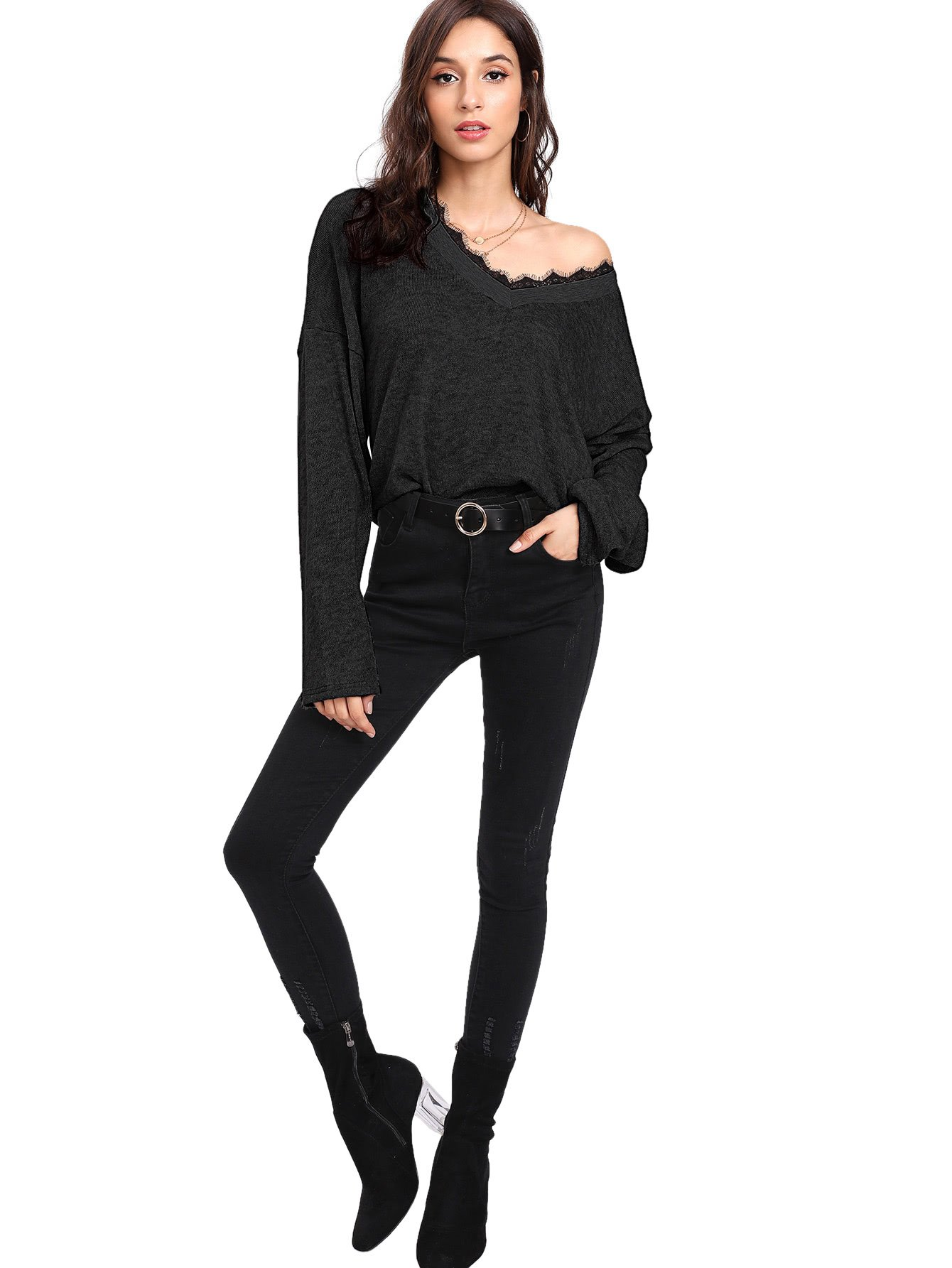 Verdusa Women's Batwing Sleeve Sweaters Jumper Eyelash Lace Pullover Tops Black-1 L by Verdusa (Image #4)
