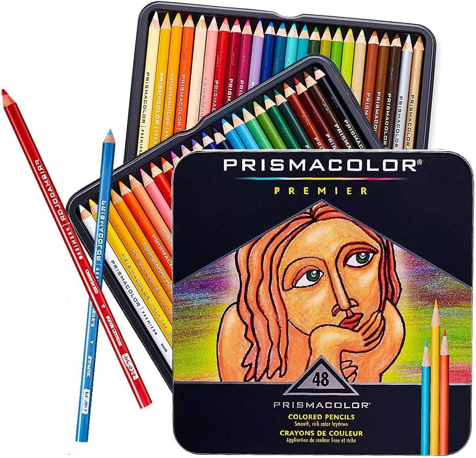 Prmacolor Colored Pencils Soft Thick Core Artist Pencils Assorted Colors Coloring Pencils Set for Adults and Kids 48 PCS