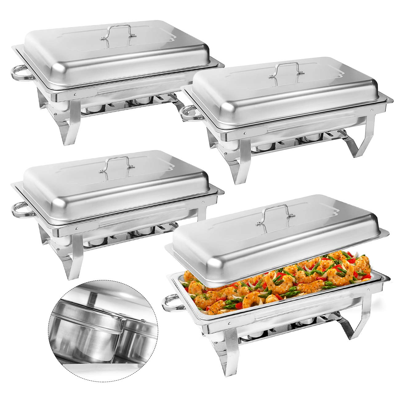 BEAMNOVA Chafing Dishes and Stand 4 Pack 8 Quart Warming Trays for Buffets Server Stainless Steel Chafer Warmer