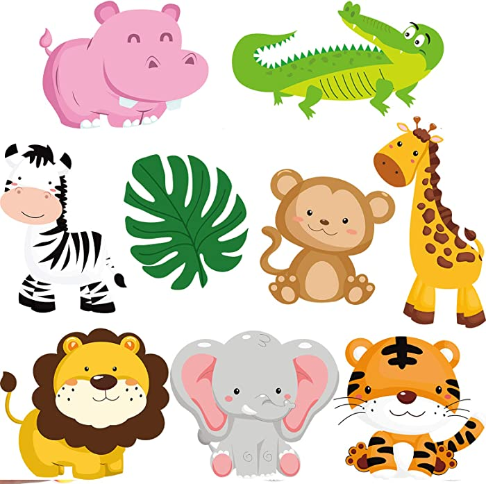27 Pieces Jungle Themed Party Decorations, Jungle Animals Cutouts Animals Theme Party Signs Paper Cutouts for Theme Party Birthday Party Baby Shower
