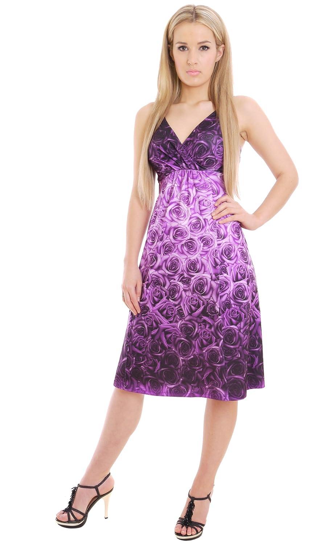 Elegantes Damen Sommerkleid Holiday Partykleid Lila Rose ...
