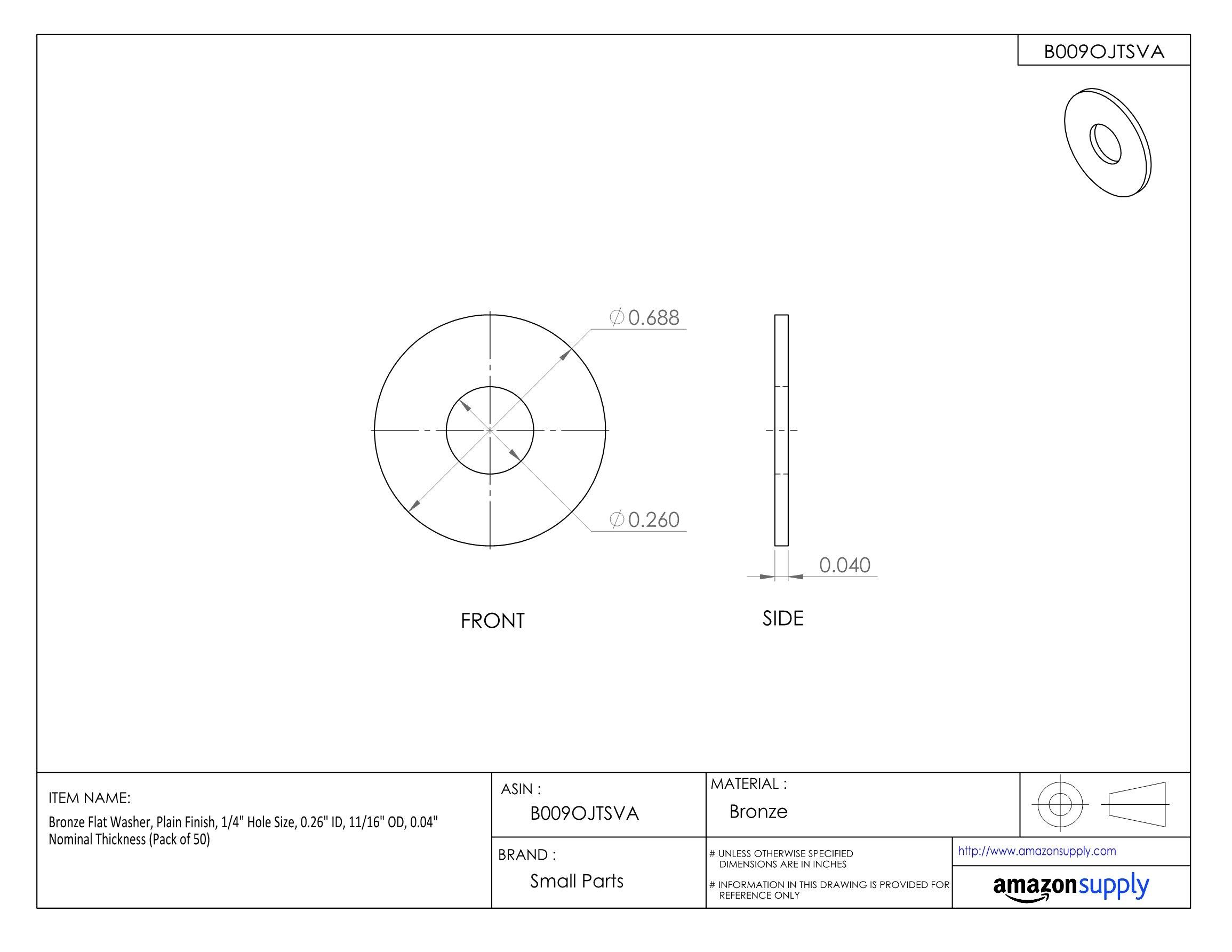 Bronze Flat Washer, Plain Finish, 1/4'' Hole Size, 0.26'' ID, 11/16'' OD, 0.04'' Nominal Thickness (Pack of 50)
