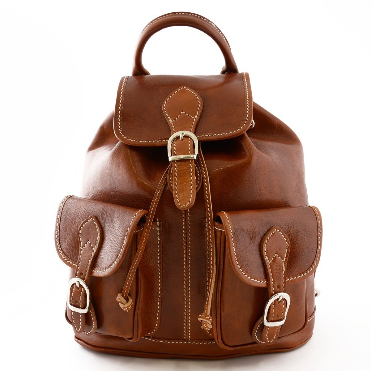 Made In Italy Leather Backpack Color Cognac - Backpack   B01ABI10S6