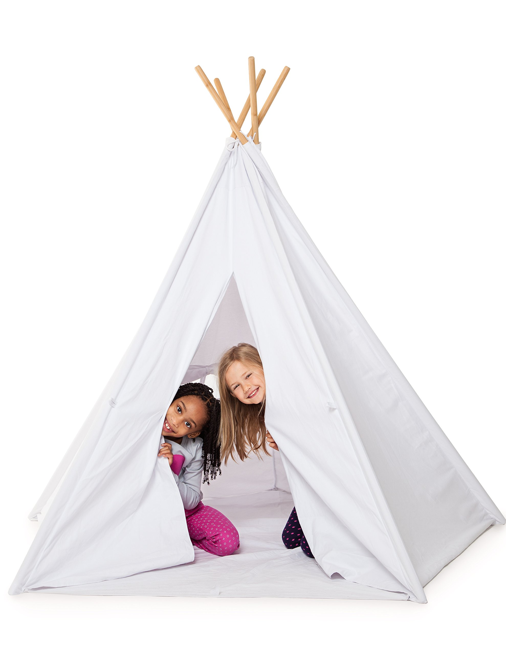 HUGE LUXURY TEEPEE 100% COTTON CANVAS! 5 BAMBOO POLES FLOOR and CARRYING CASE