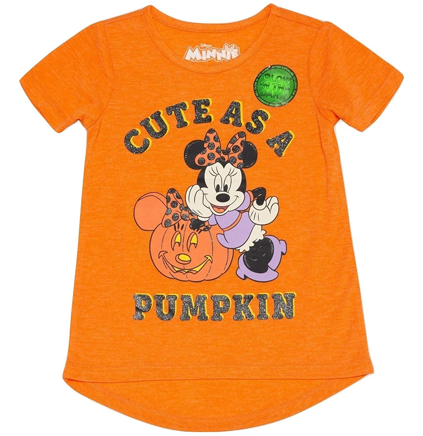 bb90d4599ed Amazon.com  Minnie Mouse Disney Toddler Girls Glow in The Dark Halloween T- Shirt  Clothing