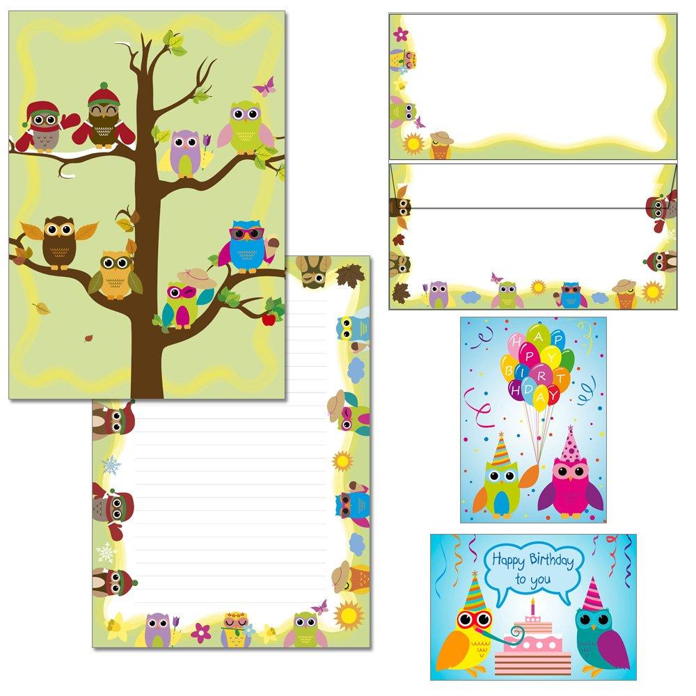 Gufo quattro stagioni –  1 Blocco DIN A4 + 15 Buste DIN lungo + 2 Cartoline in bella VJ Mappe Blocco Set Konzept-G 7020+6550-15+1108+1111