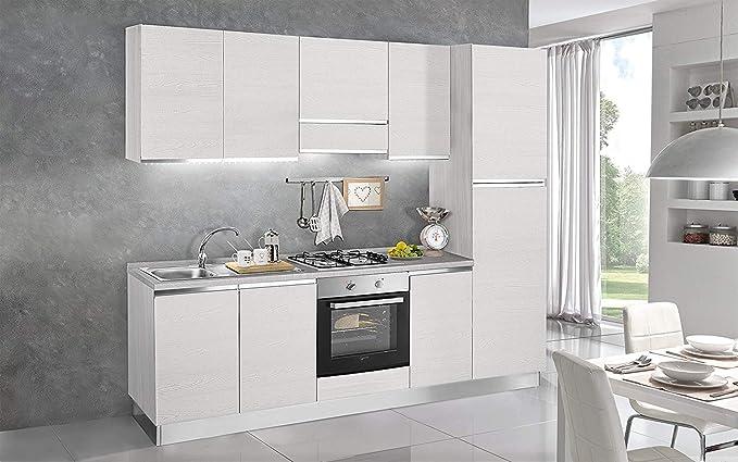 Cocina completa - Lado DX cm. 255 x 60 x 216h - Incluye: campana extractora, horno ventilado, lavabo, frigorífico, frigorífico, placa de cocción a gas con 4 fuegos, n.° 6 y un cajón.: Amazon.es: Hogar