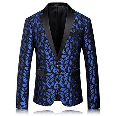 Amazon.com: Vazpue Suits Mens Royal Blue Printed Blazer Pattern ...