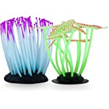 Pro Products Fish Tank Aquarium Ornaments Set of 2 Glow-in-The-Dark Goldfish and Betta Safe Shelter Coral Decoration Accessories Beautiful Orange/Green and Purple Glowing Plants