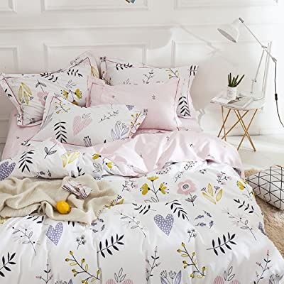 Flower Print Cotton Girls Duvet Cover Set 3 Piece Pink Reversible Full Bedding Set Lightweight Soft Floral Duvet Comforter Cover Set for Children Teens Adults Queen Bedding Collection: Home & Kitchen