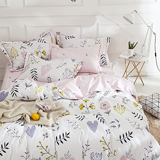 Floral Pattern Duvet Cover  with Pillowcases Cotton Super Soft Printed Cover