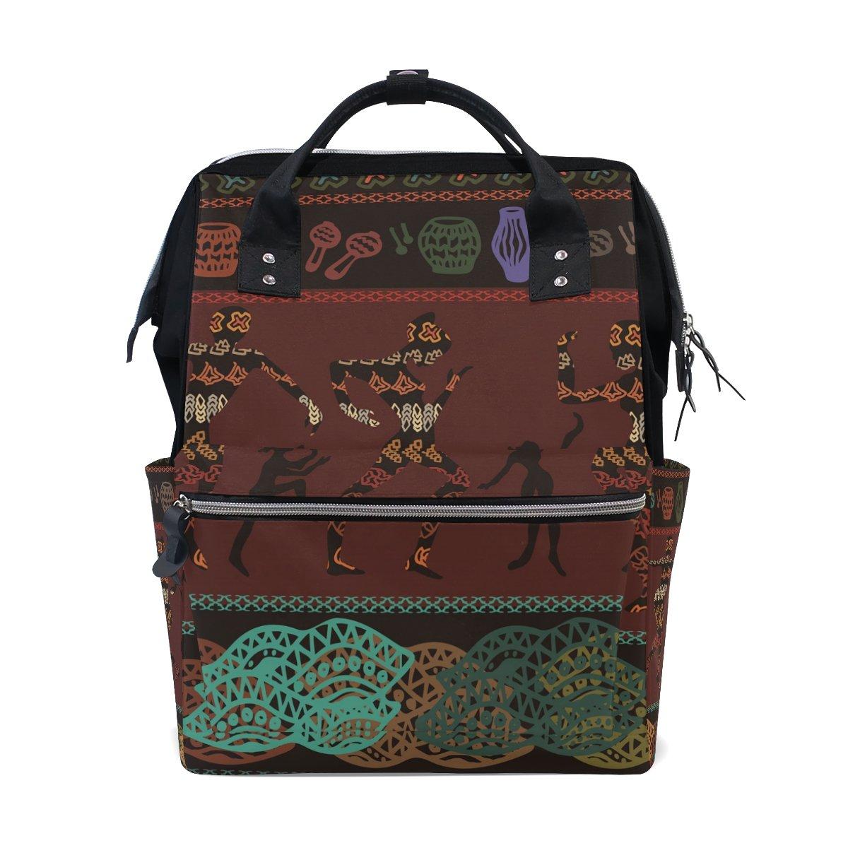 School Travel Backpack Ethnic African Art Laptop Daypack Large Diaper Bag Doctor Bag