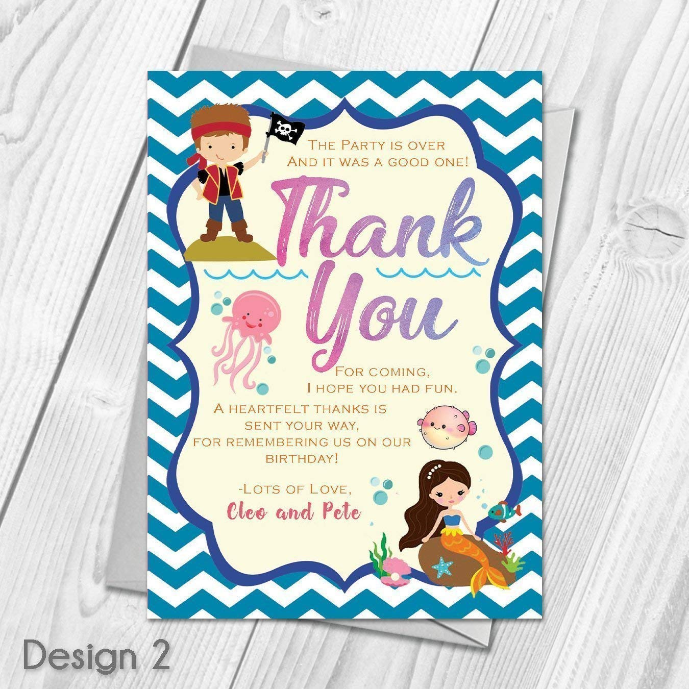 Personalised Mermaid and Pirate Birthday Party Invitations & Thank ...