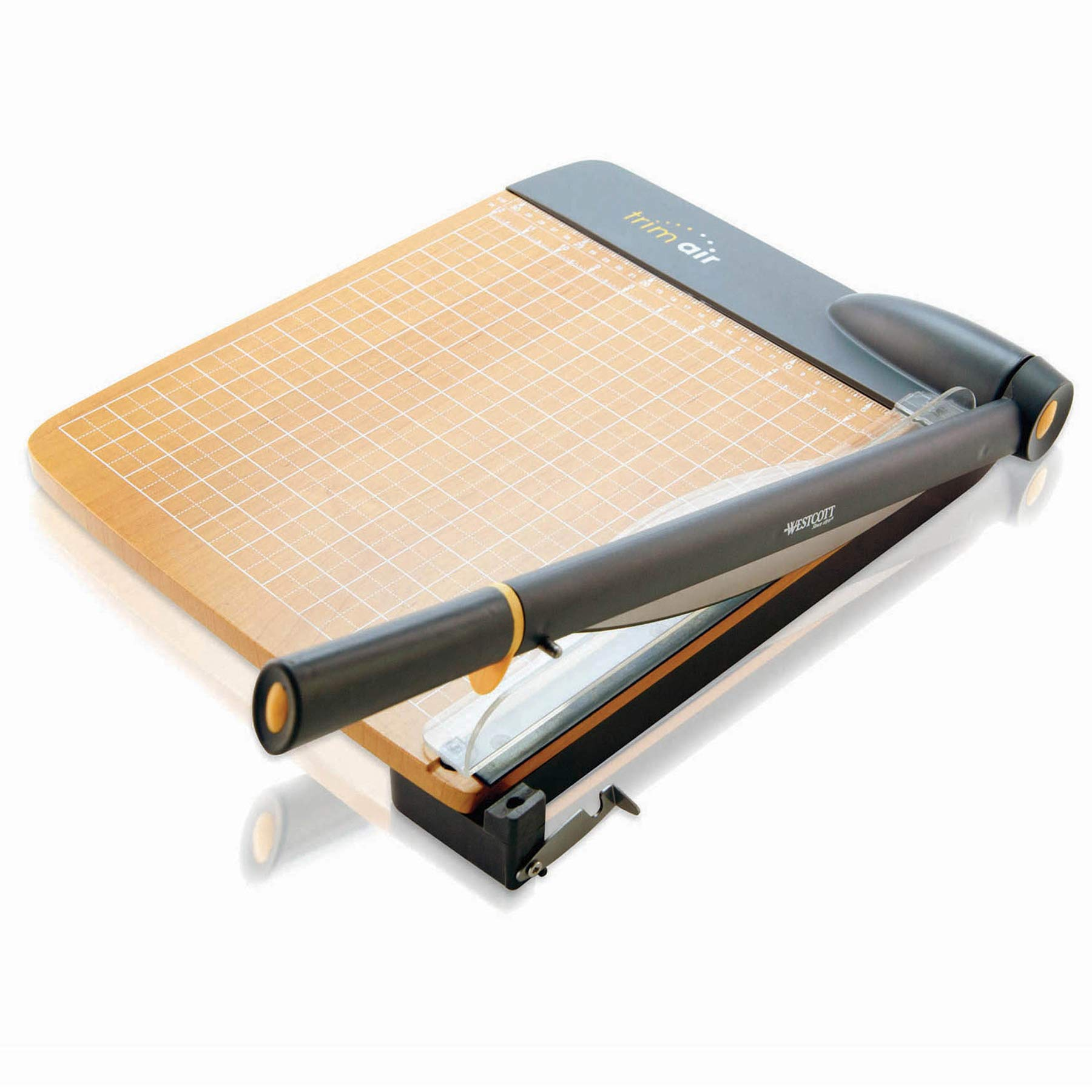 Westcott ACM15107 TrimAir Titanium Wood Guillotine Paper Trimmer with Anti-Microbial Protection, 15''