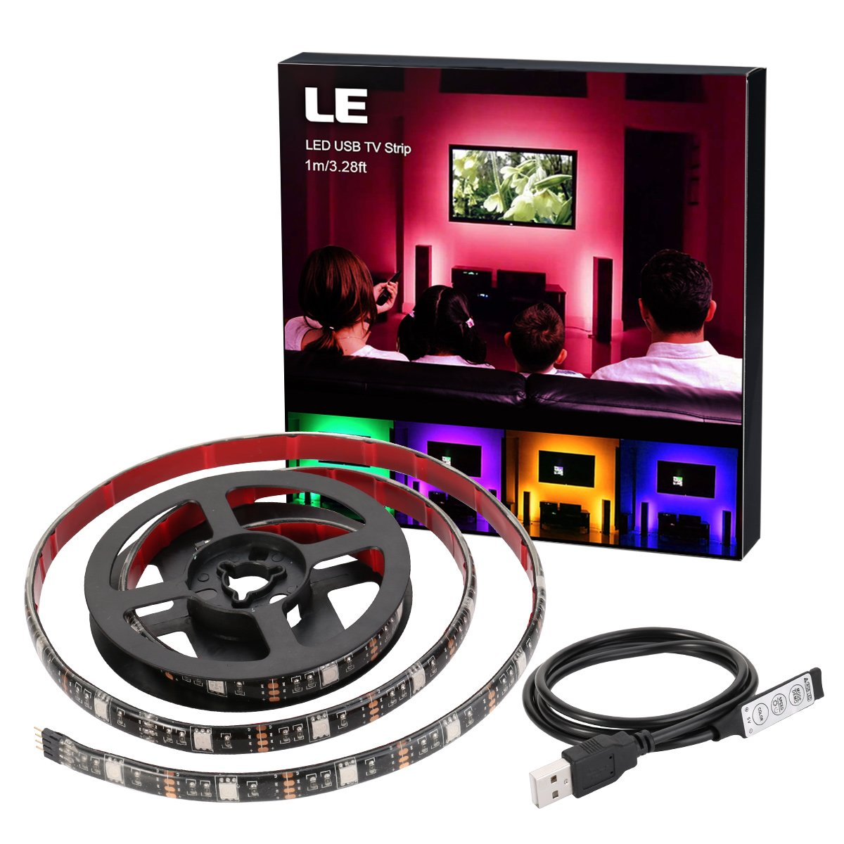 LE USB LED TV RGB Strip Light, 1M/3.28Ft, Multicolor 30 LEDs 5050SMD Waterproof Flexible RGB Backlight Bias Lighting Kit, with DC 5V USB Cable and Mini Controller Lighting EVER