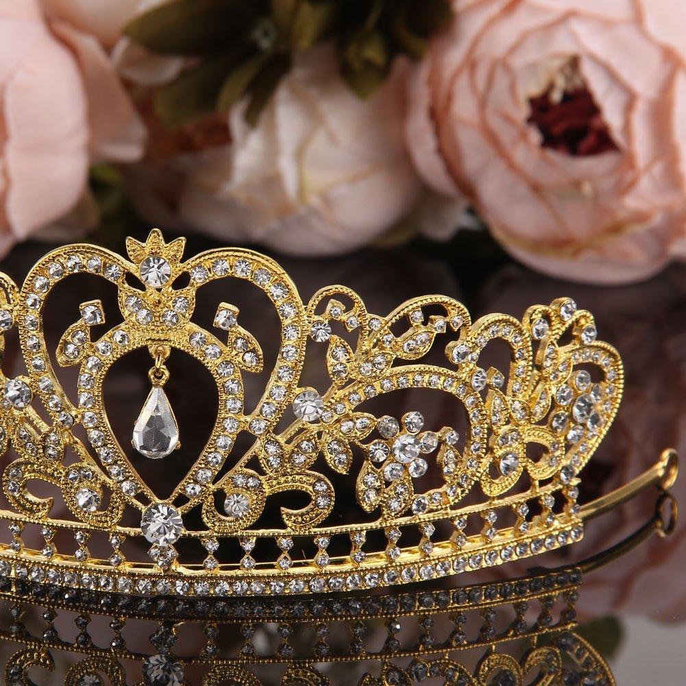 Gold by Whitelotous Whitelotous Silver Plated Diamond Jewelry Bride Crown Tiara Brides Headdress