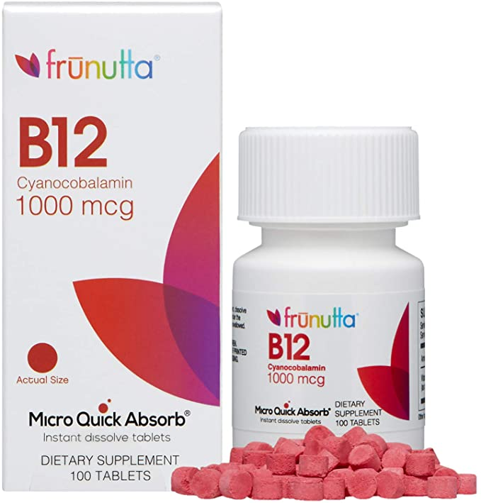 Amazon Com Frunutta Vitamin B12 Cyanocobalamin Under The Tongue Instant Dissolve Tablets 1000 Mcg X 100 Tablets Helps Maintain Metabolic Health Blood Cells And Nerves Made In Usa Non Gmo