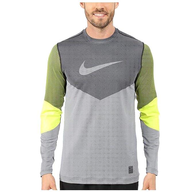 9e6ab524 Nike Pro Hyperwarm Line Crew Compression Shirt (Medium, Grey/Volt)
