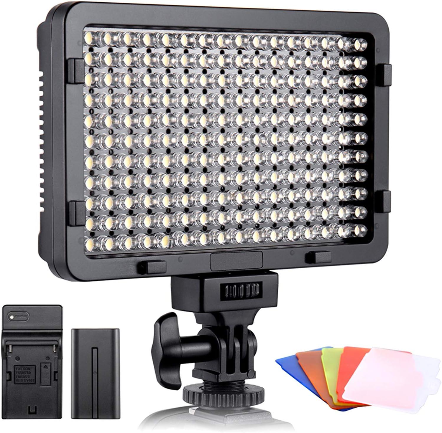 ESDDI - Luz LED fotográfica, luz de vídeo, 176 LED Regulables superluminosos 3200-5600K, 5 filtros de Color, CRI 95+, batería con Cargador incluida, para cámaras DSLR
