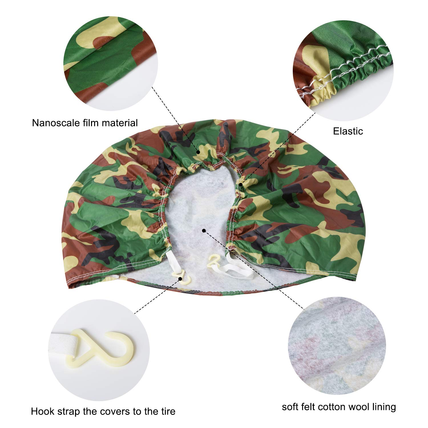 Camo Set of 4 Tire Covers Waterproof Sun Protectors Dustproof Motorhome Wheel Covers for Jeep Car Camper Trailer Universal Fit 27-29 inch Tire Diameters SUV Auto Truck RV