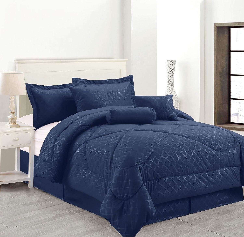 Amazon.com: Luxury Hotel 7 Pc Embossed Solid Comforter Set (Full Size,  Black): Home U0026 Kitchen