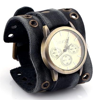 Menu0027s Retro Punk Rock Watch Big Wide Leather Quartz Steampunk Watches  (round) ...