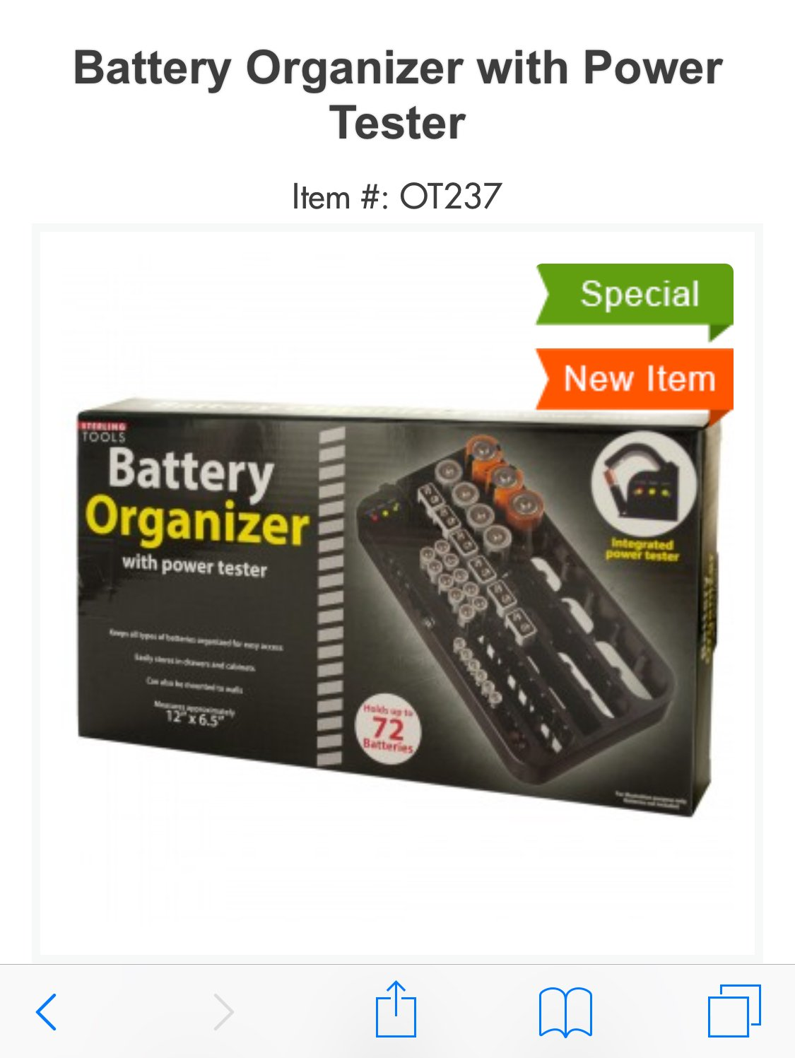 Battery Organizer with power