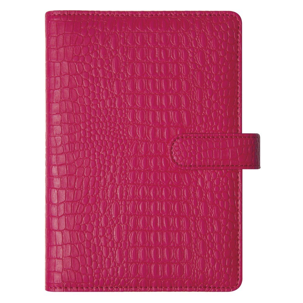 Exacompta Exatime Sad Baby Croco Organiser with a Crocodile Grain Leather Cover - September 2018 to December 2019 - Magnetic Button Clasp [English Language not Guaranteed] 14 cm x 19 cm Fuchsia