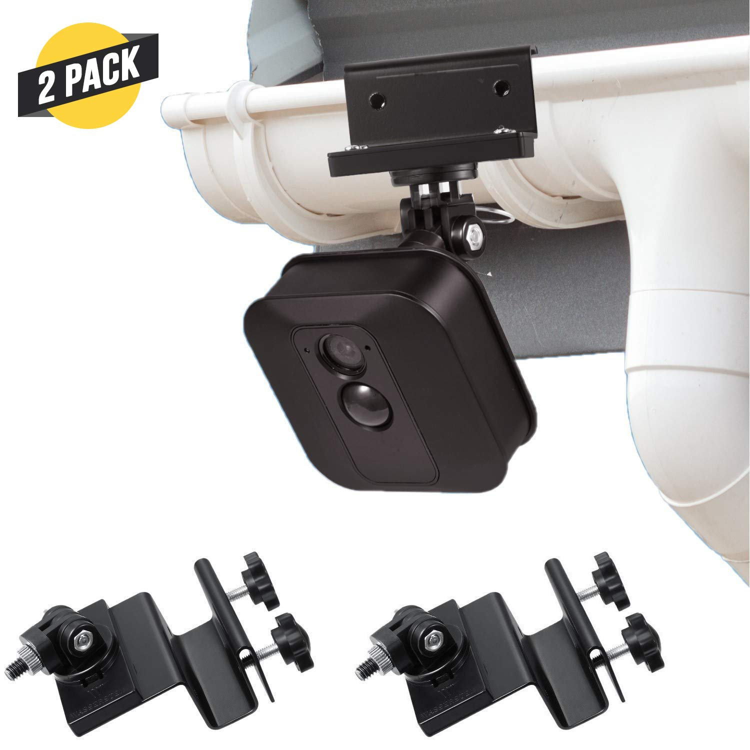 Weatherproof Gutter Mount for Blink XT Outdoor Camera with Universal Screw Adapter - by Wasserstein - Best Viewing Angle for Your Surveillance Camera (2 Pack, Black)