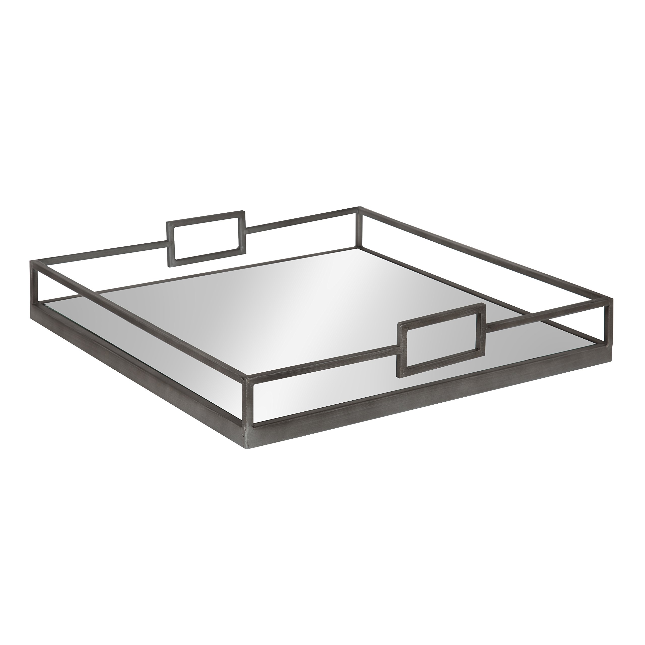 Kate and Laurel Trask Square Metal Mirrored Tray, Pewter