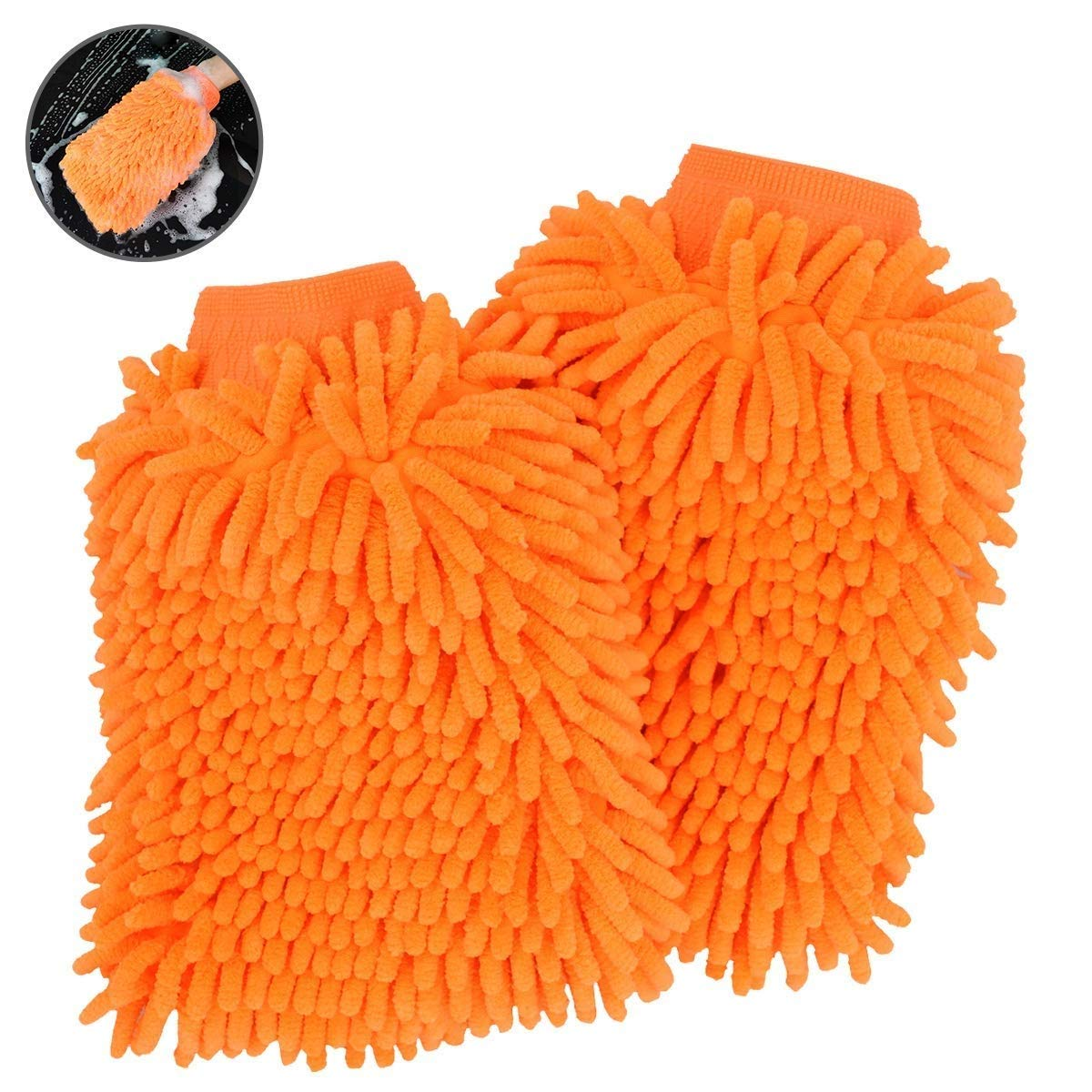 Car Wash Chenille Mitt Microfiber Extra Large Size Glove Super Absorbent Double Sided Premium Auto Ultrafine Fiber Professional Cleaning (CHINILLE MITT, Brillant Orange - 2 Pack)