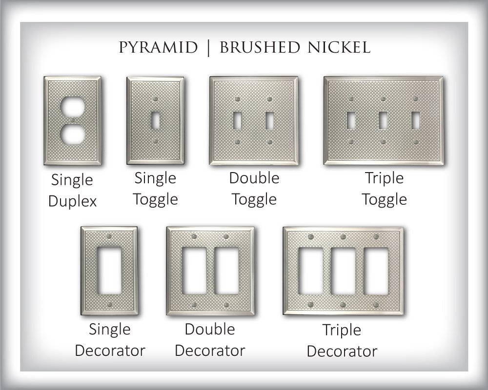 Double Decorator, Brushed Nickel Polish Questech Pyramid Decorative Metal Composite Switch Plate//Wall Plate//Outlet Cover
