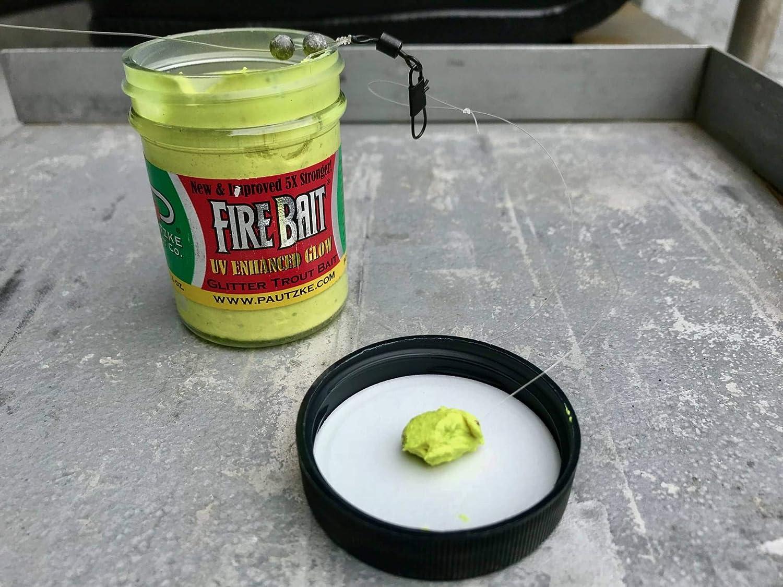 FIRE BAIT CHARTREUSE GARLIC GLITTER TROUT BAIT 1.5 oz 2 JARS PAUTZKE BAIT CO