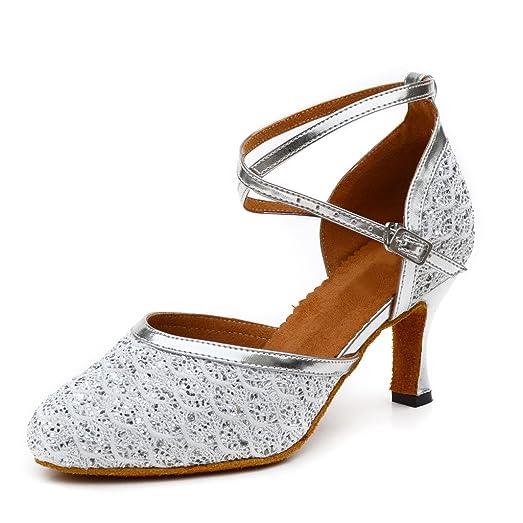 misu - Zapatillas de danza para mujer, color Plateado, talla 36.5