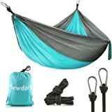 "Newdora Camping Hammock - Lightweight Nylon Portable Hammock, Best Parachute Double Hammock for Backpacking, Camping, Travel, Beach, Yard. 105""(L) x 56""(W)"