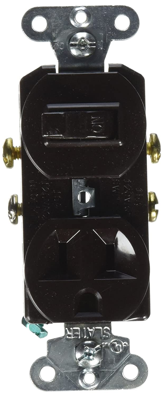 Pass Seymour 691 Pole 3 Wire Grounding Combination Switch And Receptacle Wiring Outlet 125v 15 Amp Brown Electrical Outlets