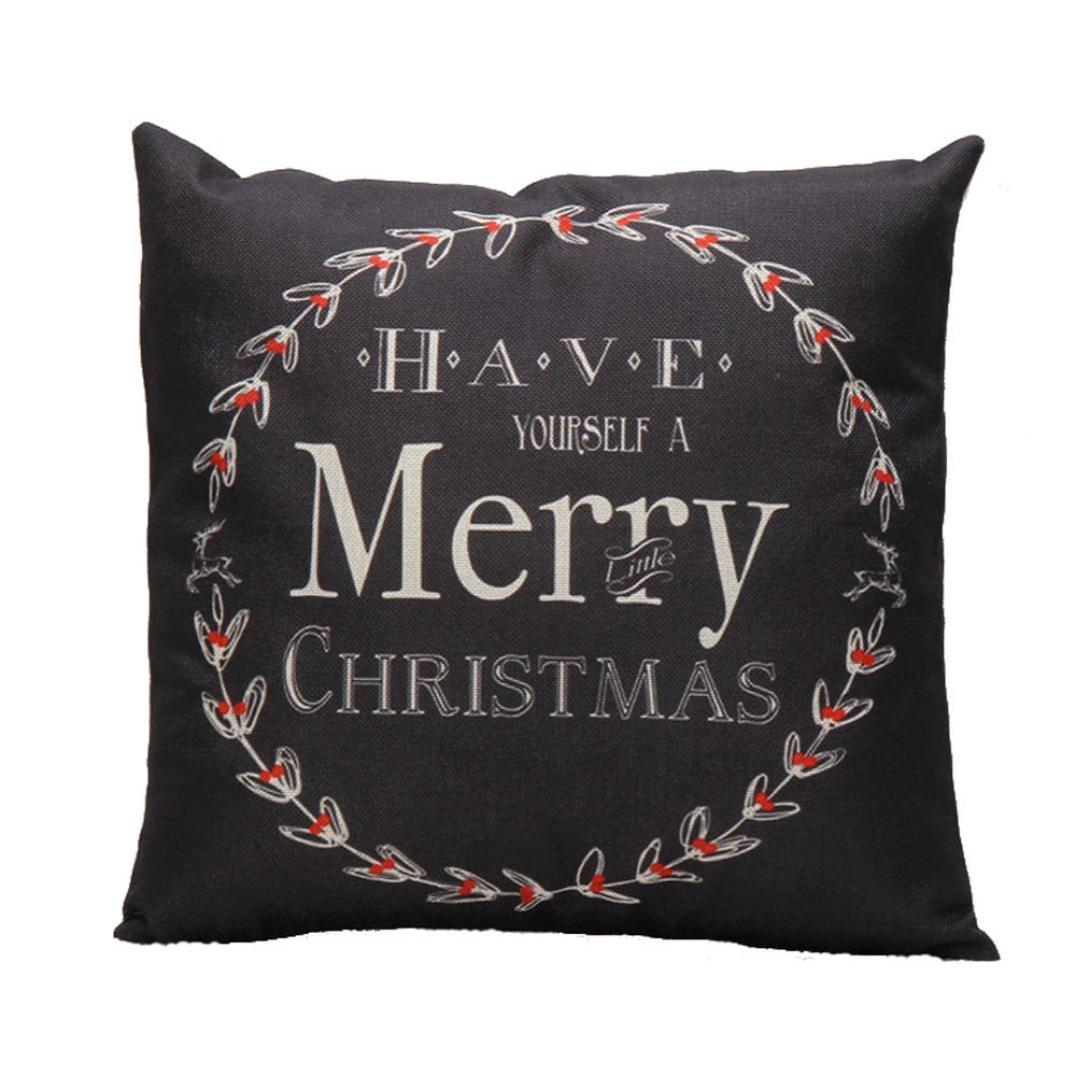Kword 'Merry Christmas' Christmas Natale Santa Renna Cuscino Cover Cuscino Caso Festive Homedecor Regali Nero & Bianco Kword1101
