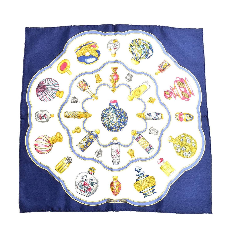 (エルメス) HERMES カレ45 プチカレ シルク スカーフ ポケットチーフ 香水 柄 プリント ブルー マルチ 青 [中古] B07FBLC9CB  -