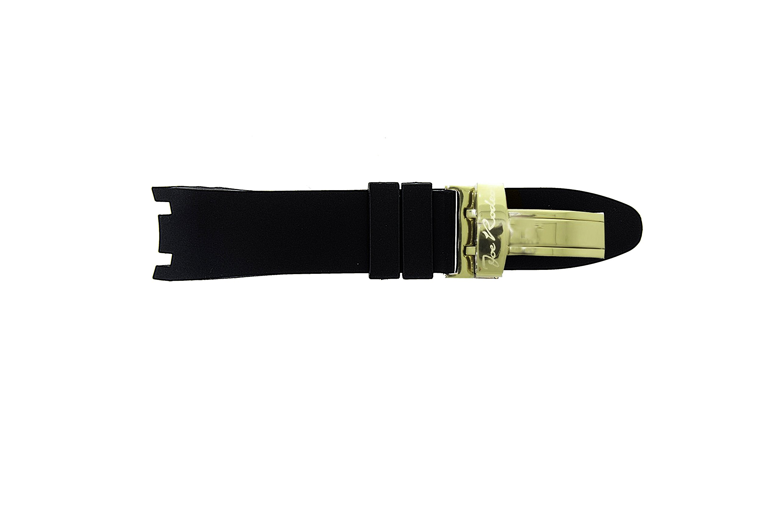 JoJo Joe Rodeo Watch Band for Master Man in Black Color Rubber with Yellow Buckle