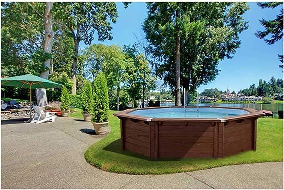 Interline Bali - Piscina de madera (diámetro 440 x 116 cm, incluye cubierta de verano): Amazon.es: Jardín