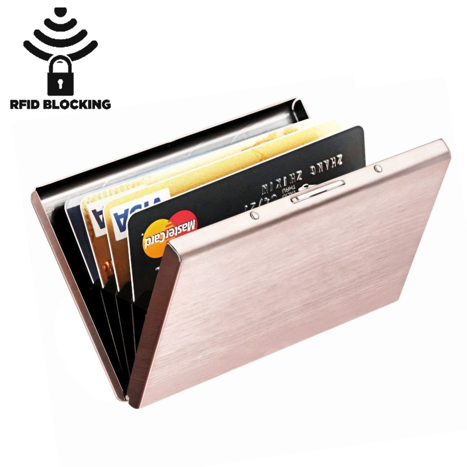 MaxGear RFID Blocking Credit Card Holder, Stainless Steel Card Holder Case for Travel and Work, Steel Metal Slim Wallet, Credit Card Case for Business Cards, Credit Cards,N-Rose Gold
