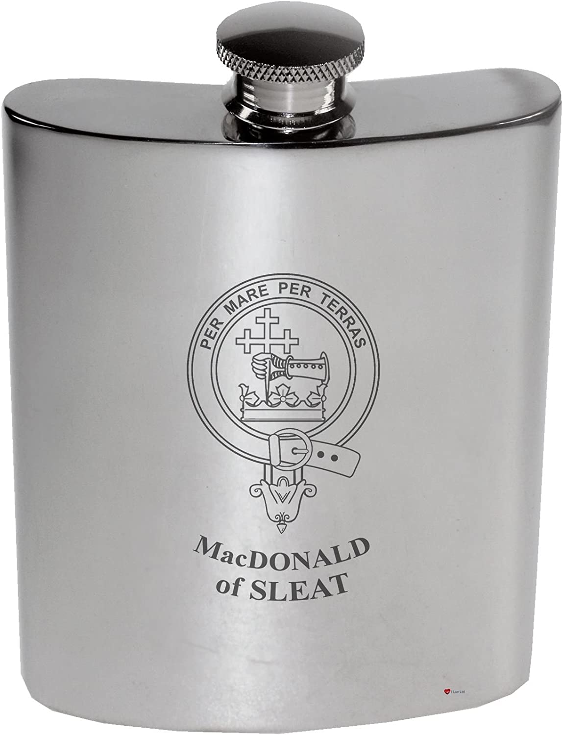 MacDonald of Sleat Family Crest 6oz Polished Pewter Kidney Flask